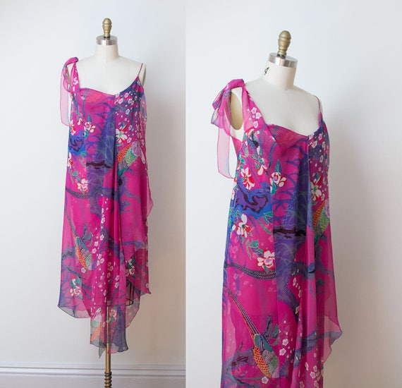 1970s Stephen Burrows Dress / 70s Asymmetrical Tro
