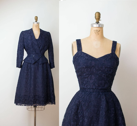1950s Christian Dior Dress 50s Navy Blue Lace New Look Dress