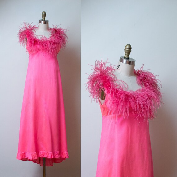 1960s Jean Varon Dress / 60s Neon Pink Feather Tri