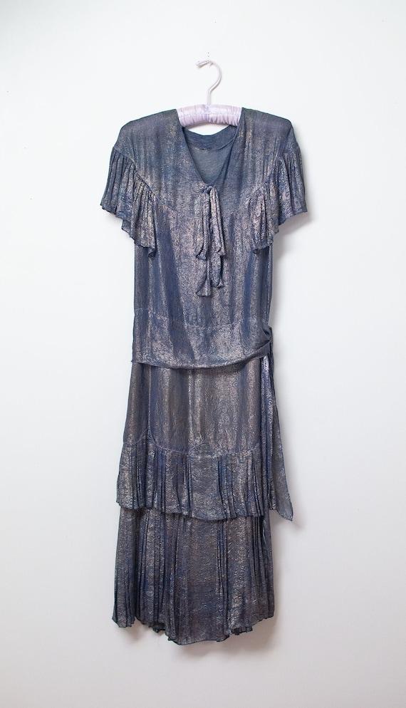 1920s Blue Lamé Dress | 20s Dress AS IS - image 1