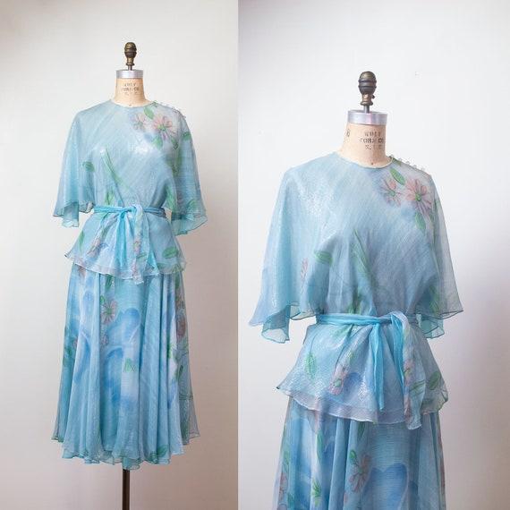 1980s Judy Hornby Couture Silk Chiffon Dress Set /