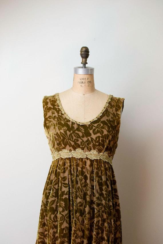 1990s Devore Velvet Dress / 90s Olive Green Burno… - image 3