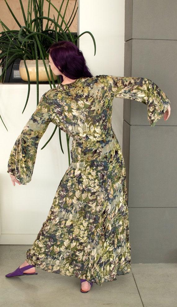1930s Mossy Green Devore Velvet Dress / 30s Bias … - image 4