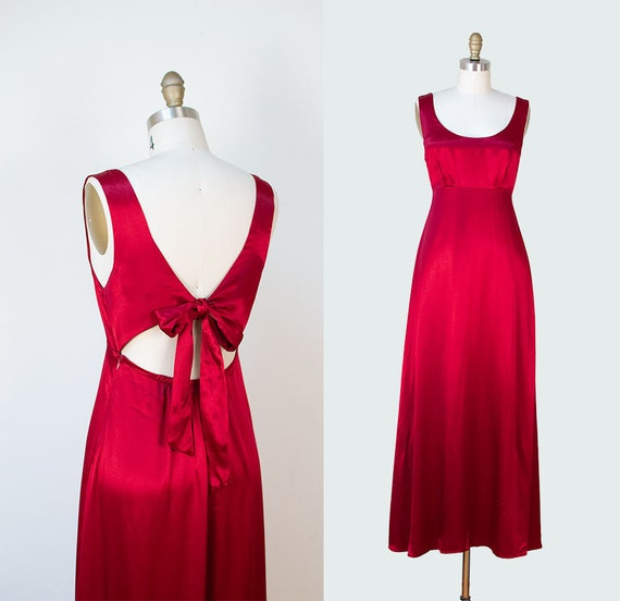 1990s Red Satin Gown / 30s Style Open Back Evening