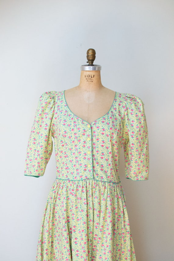 1980s Floral Print Dress / 80s Puff Sleeve Cotton