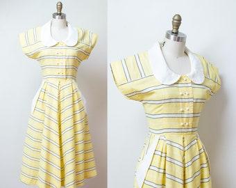 1940s Pale Yellow Striped Sundress / 40s Cotton Dress A n' R JR.