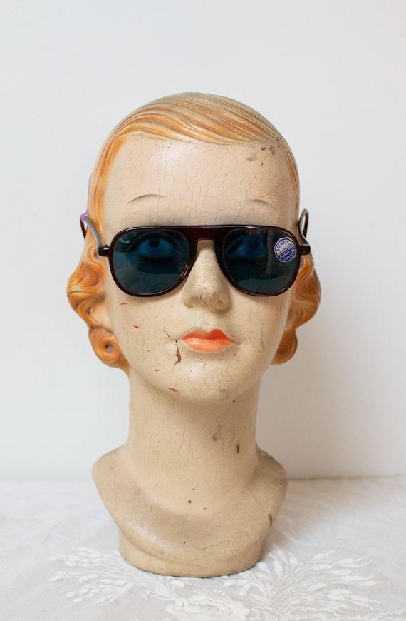 1940s Brown Aviator Sunglasses / 40s Solarex NOS B