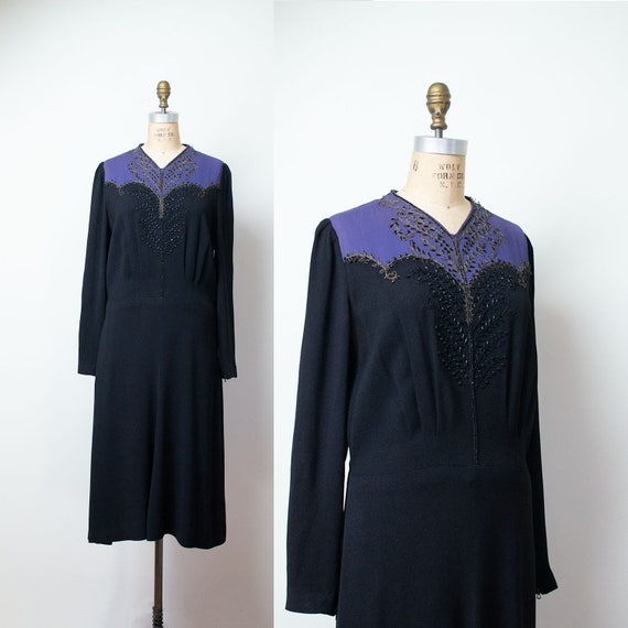 1940s Rayon Dress / 40s Color Block Beaded Dress … - image 1