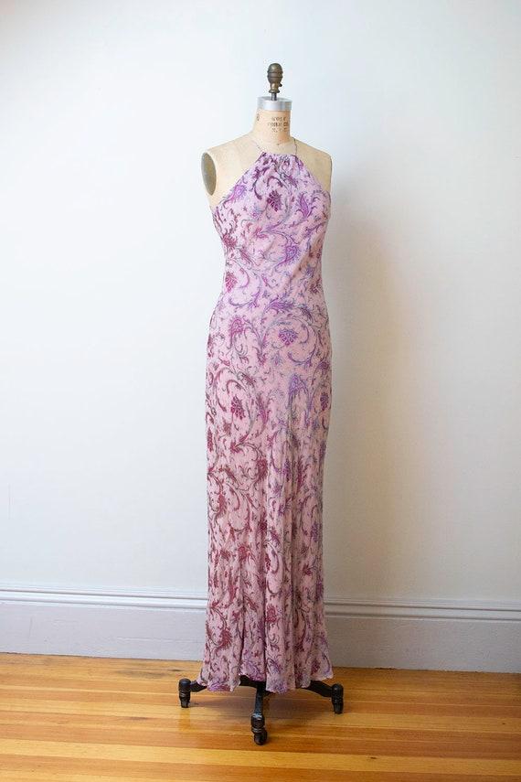 1990s Bias Cut Gown / 90s Laundry Paisley Chiffon… - image 3