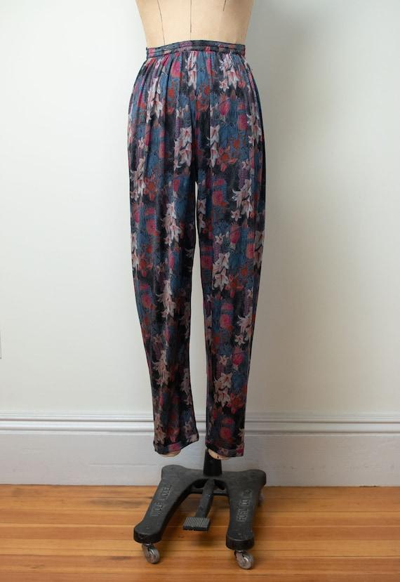 1970s Floral Print Silk Jersey Set |Vintage 70s M… - image 6