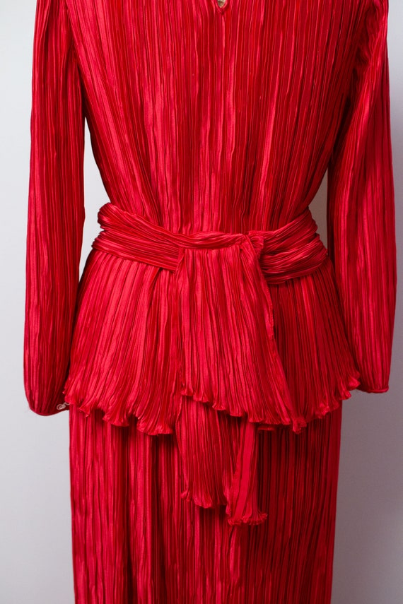 1980s Red Pleated Dress | 80s Dress Set