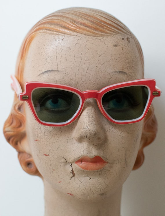 1950s Red Sunglasses / 50s Rayex Sunglasses