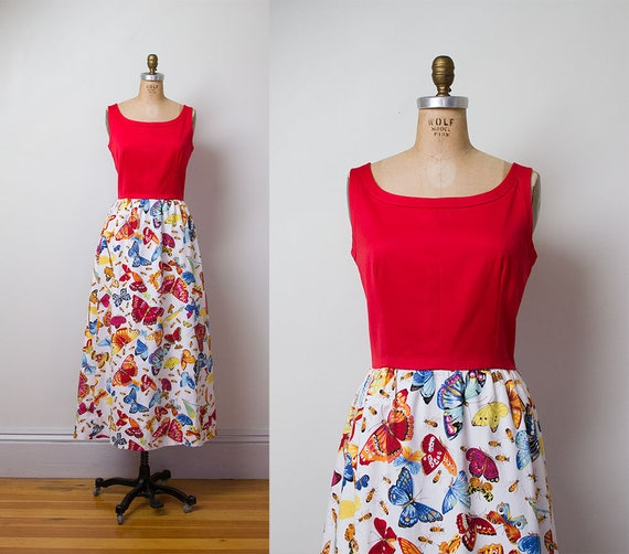 1970s butterfly Print Dress / 70s Insect Novelty P
