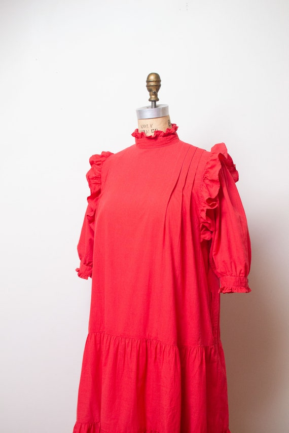 Vintage 1970s Ruffled Cotton Dress / Red Indian C… - image 9