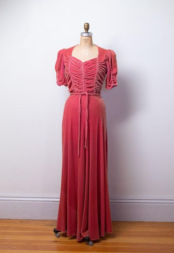 1930s Silk Velvet Gown / 30s 40s Pink Velvet Dress - image 7