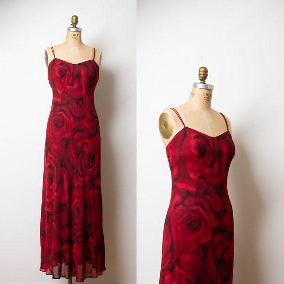 1990s Rose Print Dress / 90s Bias Cut Slip Dress