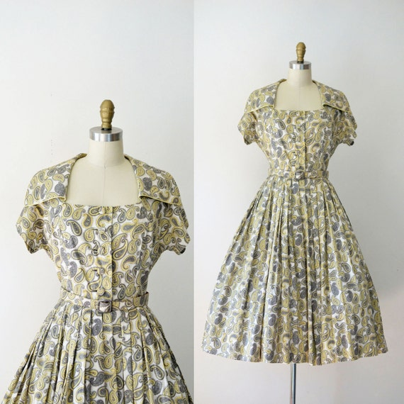 1950s Cotton Dress / 50s Full Skirt Paisley Day Dr