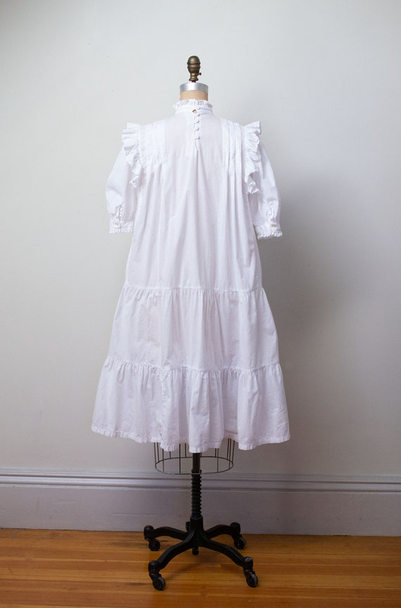 1970s Indian Cotton Dress | 1970s White Ruffled D… - image 5