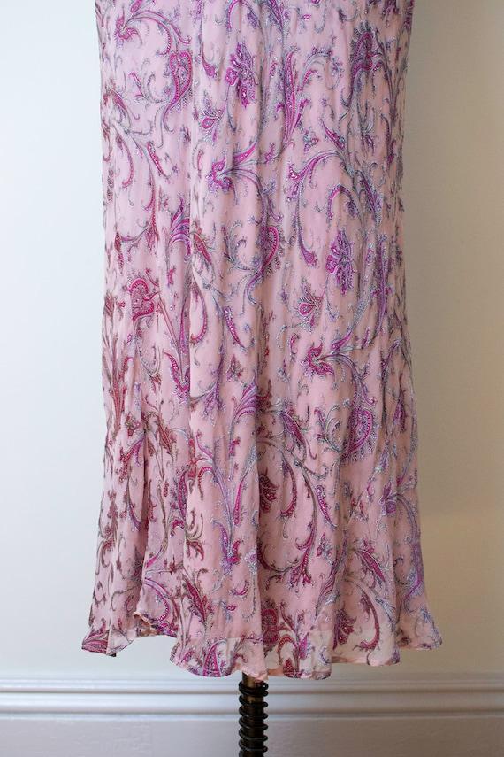 1990s Bias Cut Gown / 90s Laundry Paisley Chiffon… - image 6