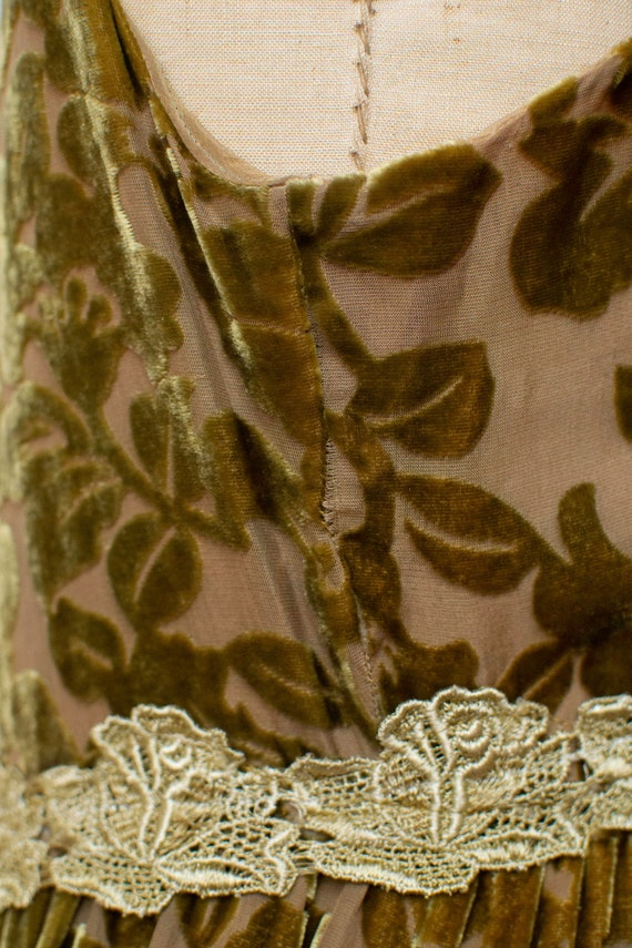 1990s Devore Velvet Dress / 90s Olive Green Burno… - image 8