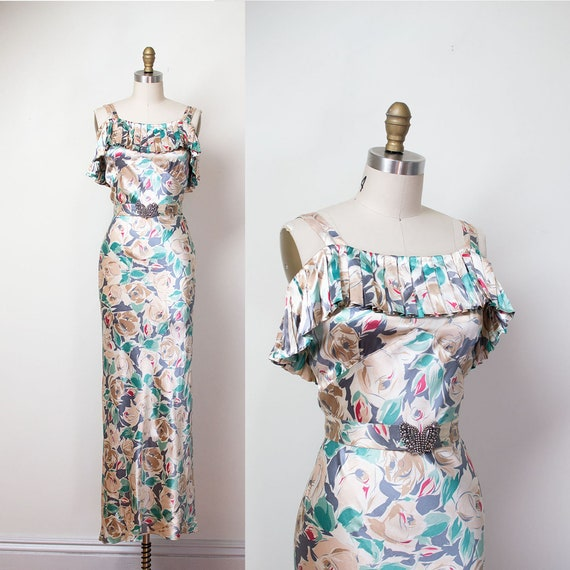 1930s Floral Print Satin Gown / 30s Rose Print NRA