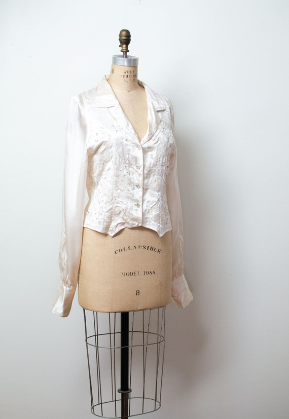 1990s Silk Balloon Sleeve Blouse