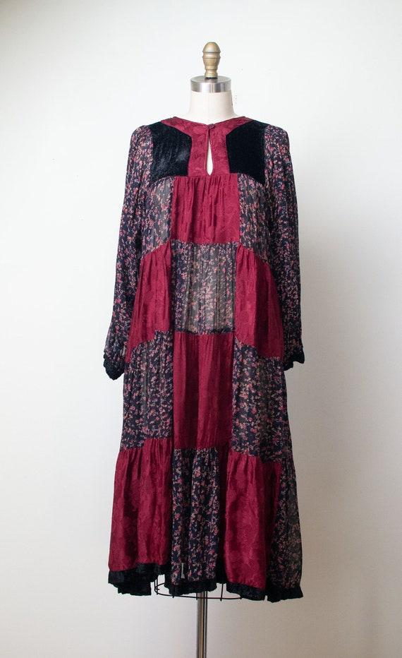 1970s Mixed Print Dress | 70s Patchwork Floral Pri