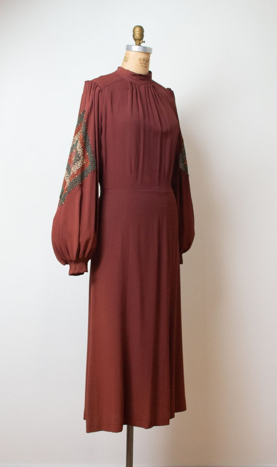 Vintage 1930s Bishop Sleeve Dress | Chanel Adaptat