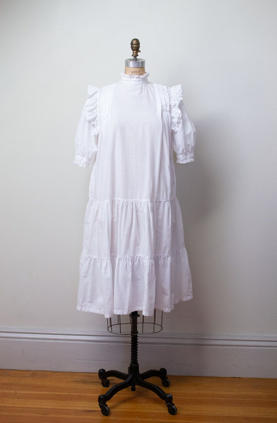 1970s Indian Cotton Dress | 1970s White Ruffled D… - image 2