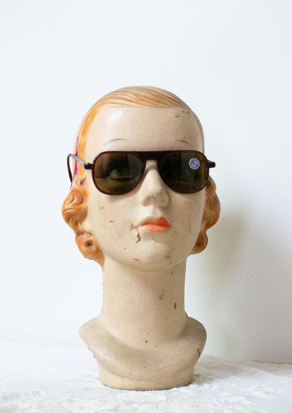 1940s Sunglasses / 40s Solarex Brown Aviator Glass