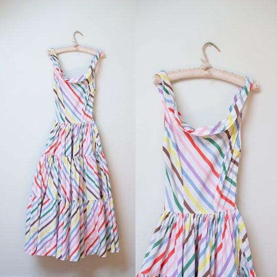 1940s Rainbow Striped Cotton Dress / 40s McMullen
