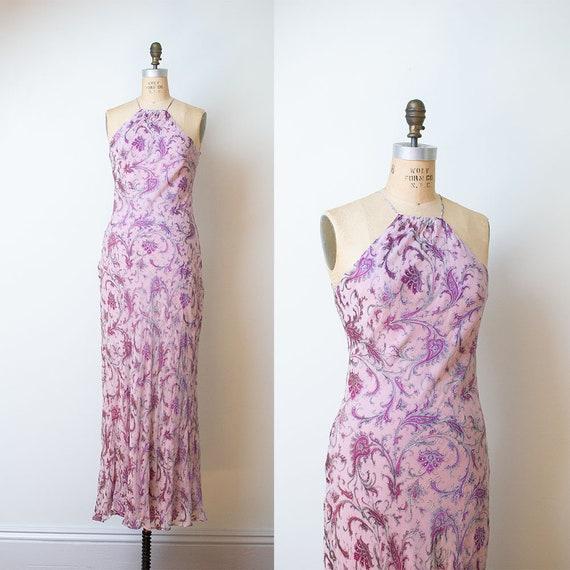 1990s Bias Cut Gown / 90s Laundry Paisley Chiffon