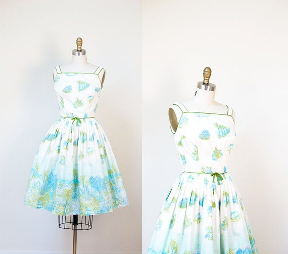 1950s Novelty Print Dress / 50s Tropical Border Pr