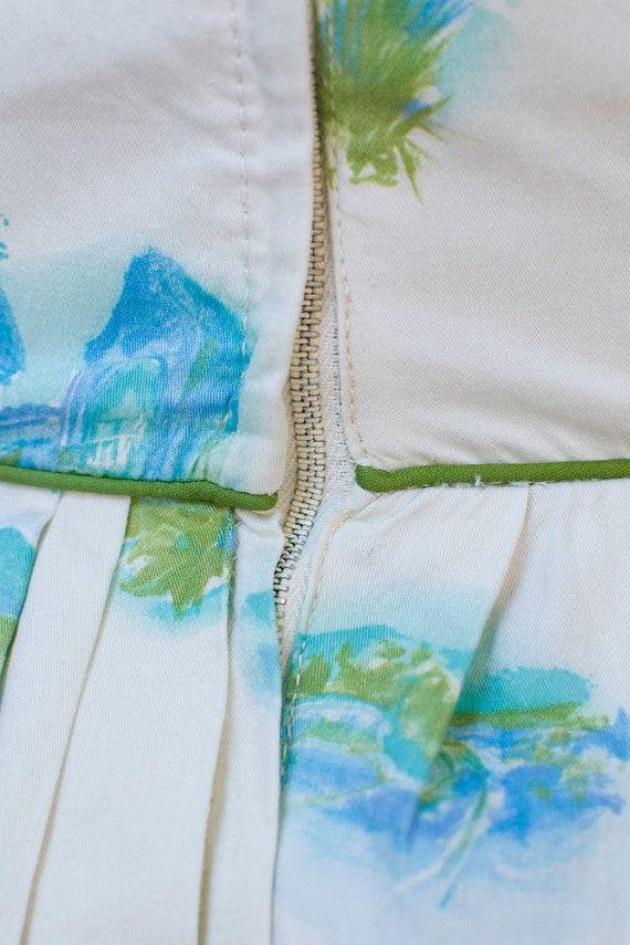 1950s Novelty Print Dress / 50s Tropical Border P… - image 10