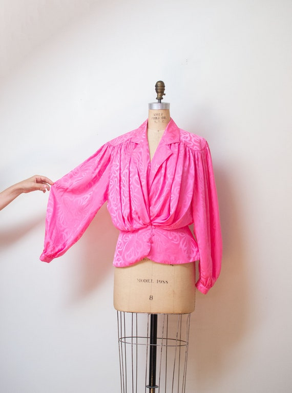 1980s Pink Silk Blouse