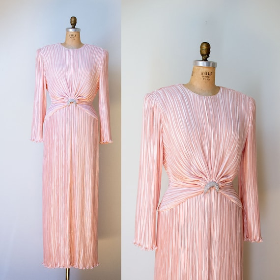 1980s Fortuny Style Pleated Dress / 80s Pink Georg
