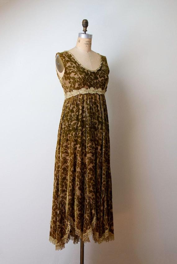 1990s Devore Velvet Dress / 90s Olive Green Burno… - image 2