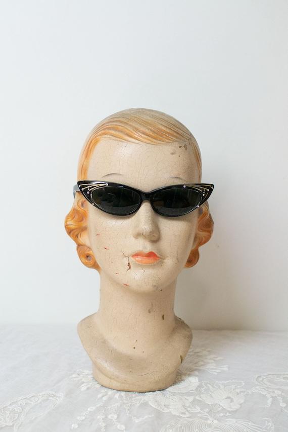 1950s Black Cat Eye Sunglasses | Made in France