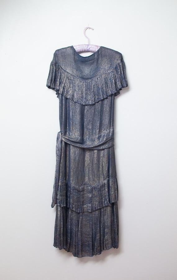 1920s Blue Lamé Dress | 20s Dress AS IS - image 2