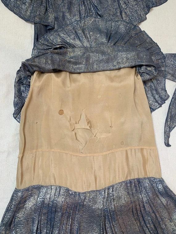 1920s Blue Lamé Dress | 20s Dress AS IS - image 10