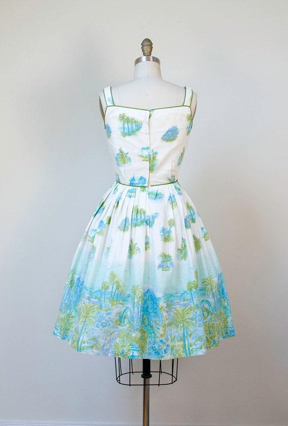 1950s Novelty Print Dress / 50s Tropical Border P… - image 5