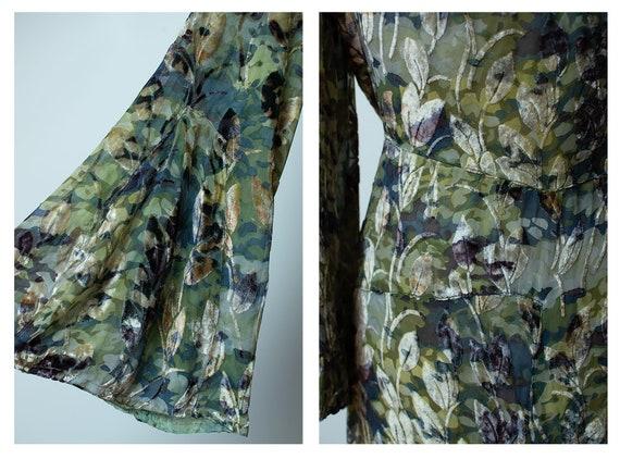 1930s Mossy Green Devore Velvet Dress / 30s Bias … - image 8
