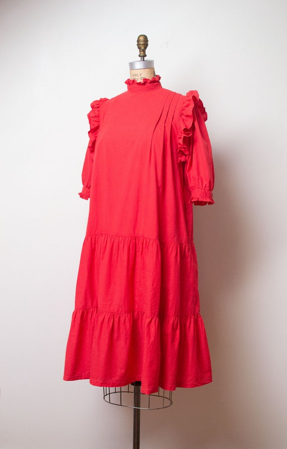 Vintage 1970s Ruffled Cotton Dress / Red Indian C… - image 5
