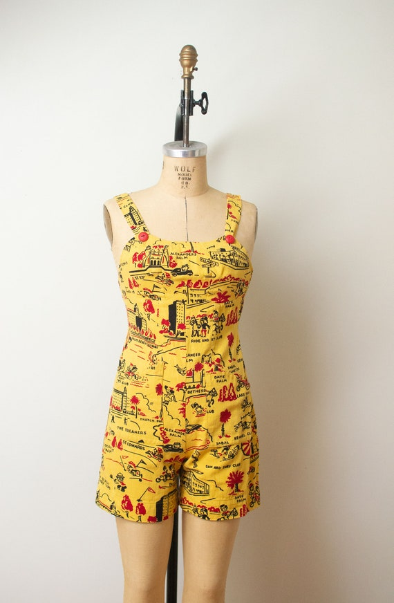 1940s Novelty Print Playsuit | Florida Spring Brea