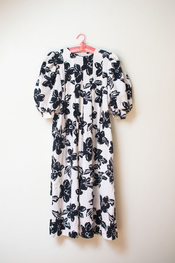 1980s Puff Sleeve Black & White Floral Print Dress