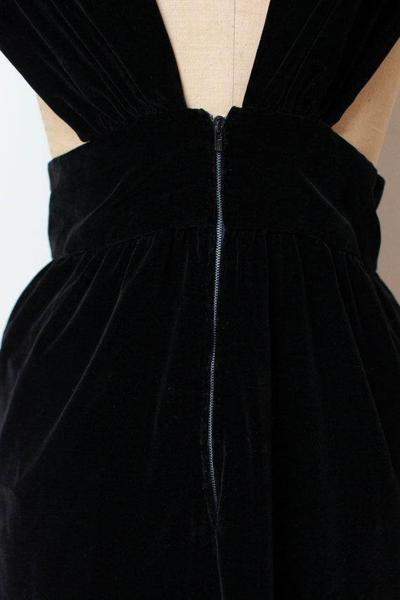 1940s Velvet Pinafore | 40s Fur Trim Dress - image 7