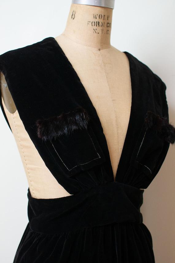 1940s Velvet Pinafore | 40s Fur Trim Dress - image 5