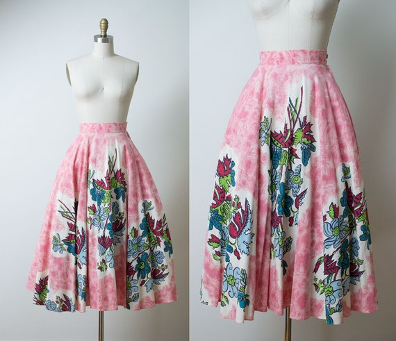 1950s Floral Print Skirt / 50s Pink Circle Skirt