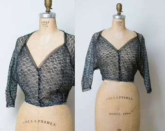 Antique Blouse / 1910's Black Lace Blouse