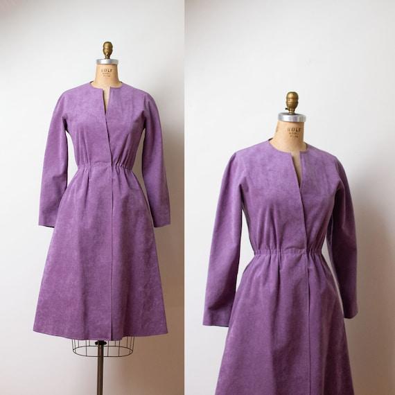 1970s Halston Ultrasuede Dress / 70s Lavender Micr
